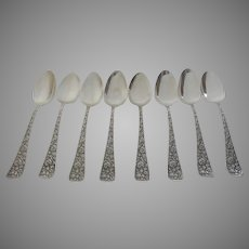 Group of Eight (8) Large Serving Tablespoons Spoons Sterling Silver by Towle Repousse Arlington