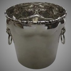 Vintage Torres Vega Mexican Mexico Sterling Silver Ice Bucket Wine Cooler Lion's Heads