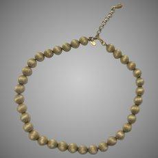 Vintage Brushed Gold Tone Monet Bead Necklace Choker