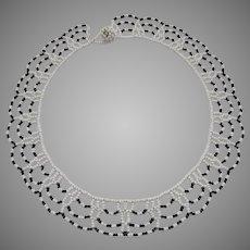 Vintage Scalloped Edge Beaded Necklace Black White Choker