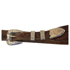 Vintage Sterling Gold Western Belt Buckle Keepers
