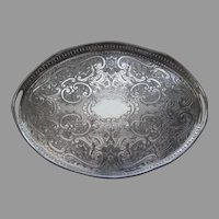 English Silver on Copper Vintage Oval Tray with Pierced Gallery