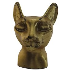 Vintage Egyptian Gilt Cat Head Paperweight