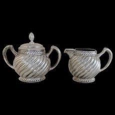 19th Century G. T. Sutterley & Co. Philadelphia Quadruple Silver Plate Creamer and Sugar