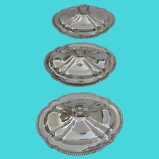 Set of Three (3) Matching Gorham Silver Plated Vegetable Servers with Lids