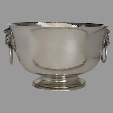 Large Sterling Silver Hammered Finish Bowl by Edward Barnard & Sons Retailed Harrods Lion Head Side Handles