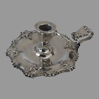 Ellis Barker 1900's Silver Plate Candlestick Chamberstick Holder Engraved Family Crest Armorial