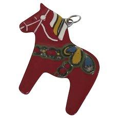 Vintage Metal Enamel Painted Dala Horse Charm Fob