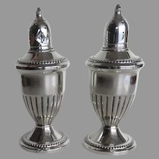 Vintage Sterling Silver Weighted Patent Pending Salt and Pepper Shakers
