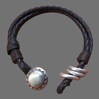 Vintage Sterling 925 Leather Bracelet by Peyote Bird