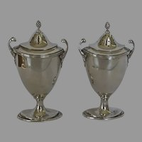 Pair of Sterling Silver Salt and Pepper Shakers Urn Shaped by Adie Bros. 1928
