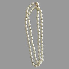 Vintage Long Strand Baroque Miriam Haskell Signed Necklace Classic Nacre
