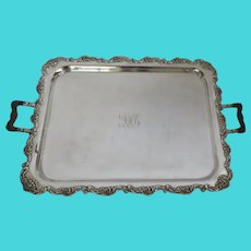 MIDDLETOWN PLATE CO Silver Plate Plated Tray with Wood Handles c 1860