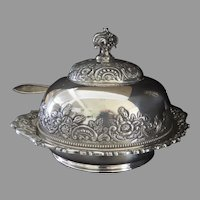 Late 19th Century Silver Plated Butter Cheese Dome  Meriden Dish Gold Wash Interior Cow