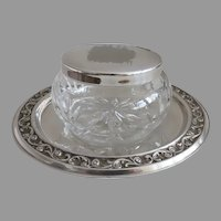 Vintage Silver Plated Repousse Dish with Dresser Box