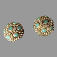 Pair of vintage Silver with a Gold Plated Filigree Earrings with set Jade Cabochon