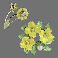 Pair of Yellow Flowered Pins with Green Leaves and a Pearl like Bead