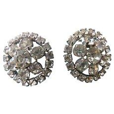 Vintage Prong Set Rhinestone Cluster Clip Earrings