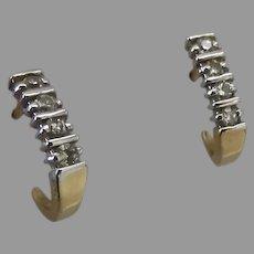 Small Curved Diamond Gold earrings Hook Shaped Jewelry 14K