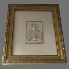 Vintage  Marchio Preziosi AN-22 Italy .925 Sterling Silver Framed Plaque Sacred Heart