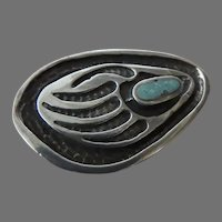 Vintage Native American Sterling Turquoise Pin Brooch Bear Claw