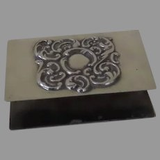 Vintage Sterling Silver  LUNT Match Box Holder Cover Ornate Scroll Pattern