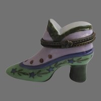 Vintage Porcelain Shoe Box Greens Pinks As Is