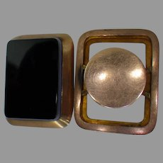 1900's Agate Rectangle Cufflinks Gold Filled