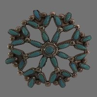 Vintage Sterling Silver Turquoise Petit Point Brooch Pin Native America Signed CW