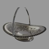 Silver Plate Swing Handle Basket made by Roger Bros MFG Co. Brides