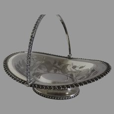 Silver Plate Swing Handle Basket made by Roger Bros MFG Co.