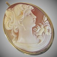 19th Century Shell Cameo Pendant Brooch Pin Woman 14K