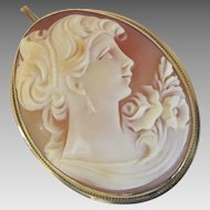 19th Century Shell Cameo Pendant Brooch Pin Woman 14K