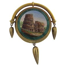 19th Century Etruscan Revival Micro Mosaic Pin Brooch 14K