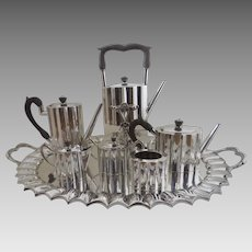 Vintage Sterling Silver 925 7 Piece Tea Coffee Set Service with Tray Tea Tipper by Jimenez Mexico