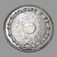 English 19th Century Sheffield Plate Round Tray Salver Footed