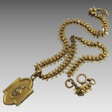 19th Century Gold Filled Fancy Chain Watch Fob with Locket
