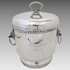 Vintage Sheffield Silver Company Silver Plated Ice Bucket Lion Heads Engraved
