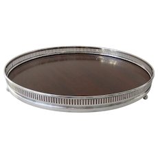 Vintage Fisher Sterling Silver Rim & Mahogany 10 Inch Round Footed Serving Tray