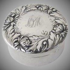 1900's Sterling Silver Round Box Dresser Pill