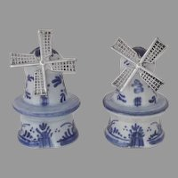 Vintage Dutch Delft Blue and White Pottery and Sterling Blades Windmills Salt & Pepper
