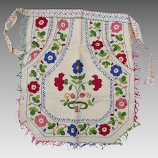 Vintage Hand Embroidered Small Apron Hungarian Folk