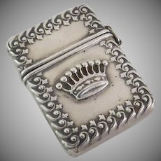 Sterling Silver 19th Century Small Stamp Box Case Crown