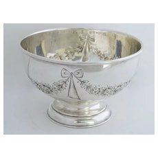 Striking Silver Plate  Footed Bowl with Flower Swag and Ribbon Motif