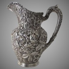Sterling Silver Water Pitcher in Baltimore Rose Repousse By Schofield