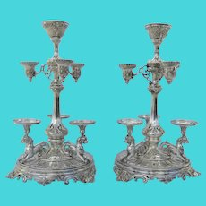 Pair of Monumental 19th Century  Silver Plate Epergnes Lions Arms