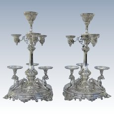 Pair of Monumental 19th Century  Silver Plate Epergnes