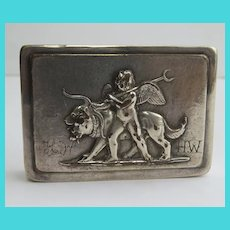 Early Silver Plate Patch Box Angel Putti Lions Dogs
