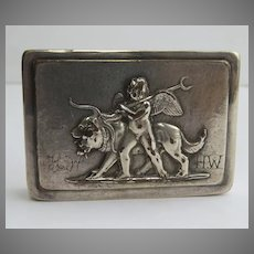 Early Silver Plate Patch Box Angel Putti Lions