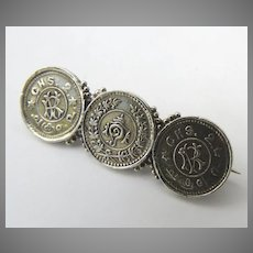 Pin Brooch Made from Travancore State Churkrams